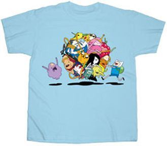 Adventure Time Group Roll Adult Sky Blue T-shirt