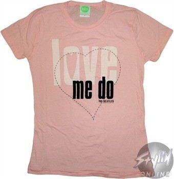 Beatles Love Me Do Pink Baby Doll Tee