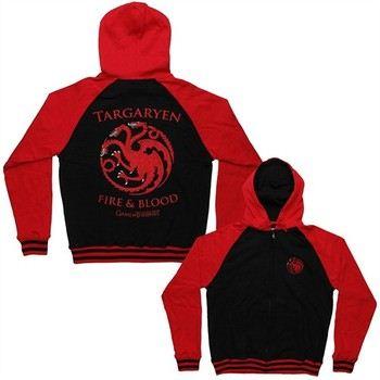 Game of Thrones Targaryen Sigil Fire and Blood Full Zipper Hooded Sweatshirt