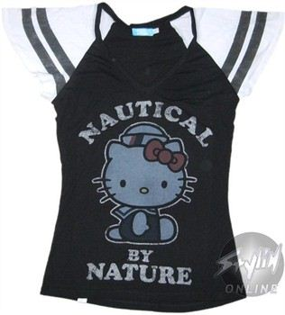 Hello Kitty Nautical By Nature Baby Doll Tee by MIGHTY FINE