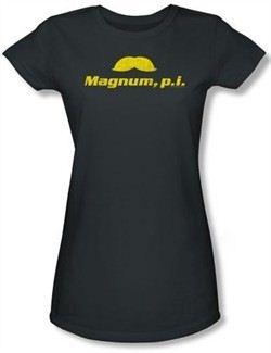 Magnum PI Juniors T-shirt The Stache Charcoal Tee Shirt