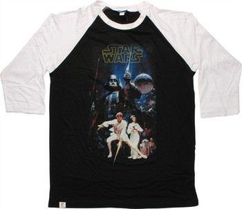 Star Wars New Hope Siblings Artwork Raglan 3/4 Raglan Sleeve T-Shirt Sheer