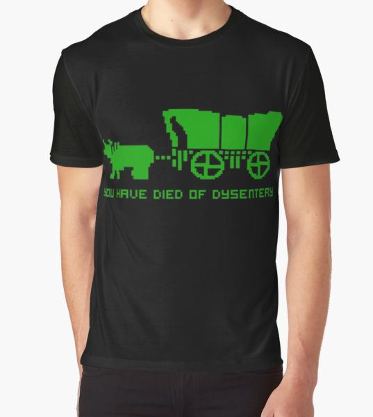 THE OREGON TRAIL - DIED OF DYSENTERY (1) Graphic T-Shirt by SUPER-TEES T-Shirt