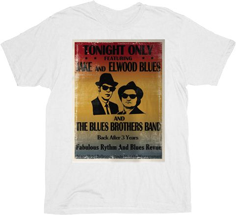 Blues Brothers Tonight Only Distressed Poster White Adult T-Shirt