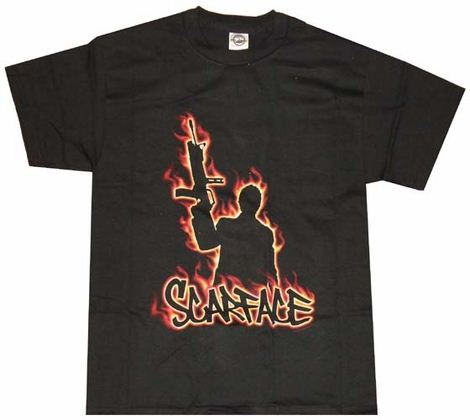 Scarface Flame Gun T-Shirt