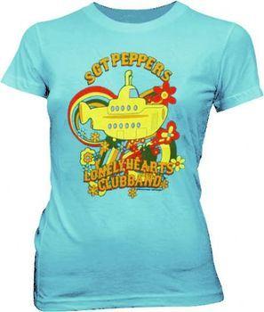 The Beatles Sgt Peppers Submarine Light Teal Juniors T-shirt