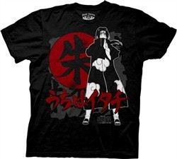 Naruto Shippuden T-Shirt Itachi Kanji Adult Black Tee Shirt