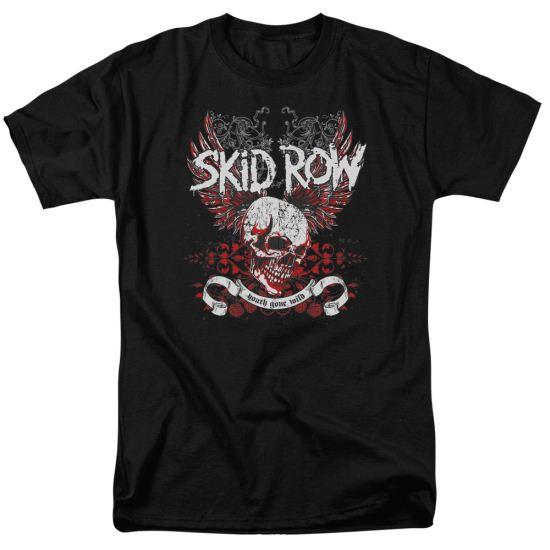 Skid Row Shirt Winged Skull Black T-Shirt