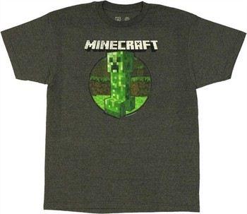 Minecraft Retro Creeper in Circle T-Shirt