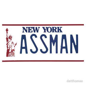 Cosmo Kramer Seinfeld Assman New York NY plate