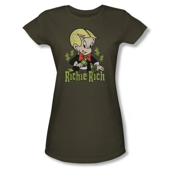 Richie Rich Shirt Juniors Logo Olive Green T-Shirt
