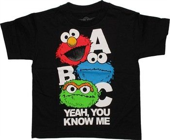 Sesame Street ABC Yeah You Know Me Elmo Cookie Monster Oscar Juvenile T-Shirt