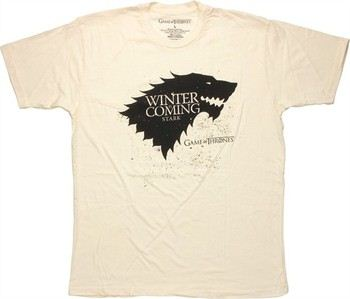 Game of Thrones Stark Direwolf Sigil Winter is Coming Stencil Cream T-Shirt