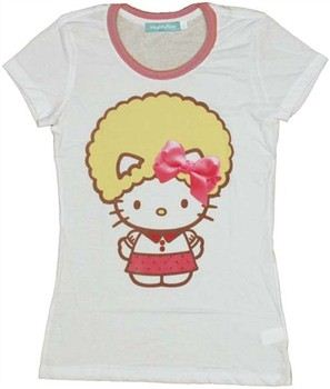 Hello Kitty Bow on Fro Baby Doll Tee by MIGHTY FINE