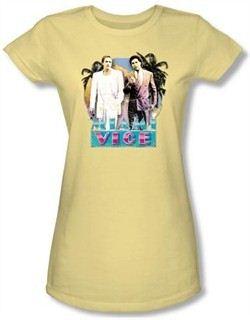 Miami Vice Juniors T-shirt 80s Love Classic Banana Tee Shirt