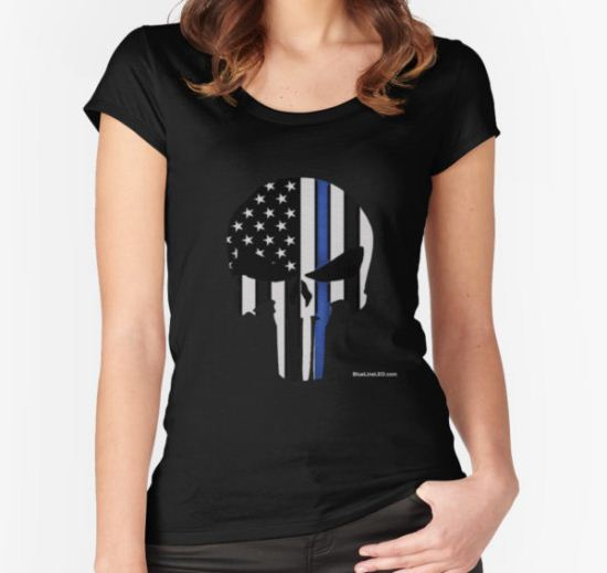 Police Punisher Women's Fitted Scoop T-Shirt by BlueLine LEO T-Shirt