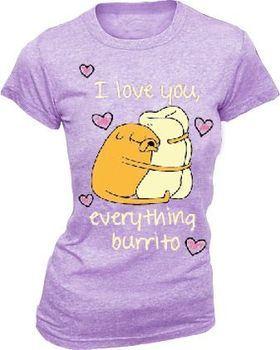 Adventure Time Jake I Love You Everything Burrito Juniors Heather Purple T-Shirt