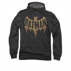 Classic Batman Hoodie Distressed Logo Charcoal Sweatshirt Hoody