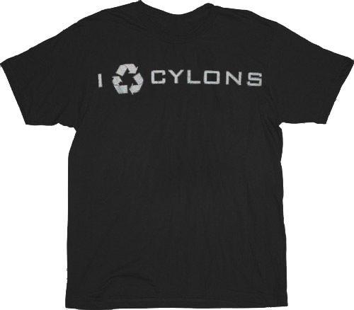 Battlestar Galactica I Recycle Cyclons Black T-shirt