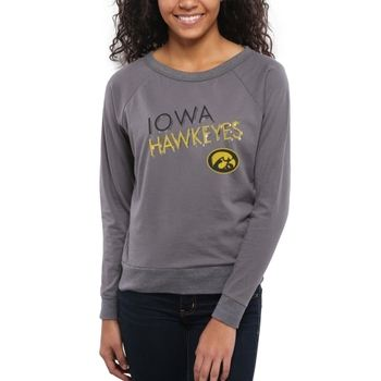 Iowa Hawkeyes Women's Crazy Love Boat Neck Long Sleeve T-Shirt – Charcoal