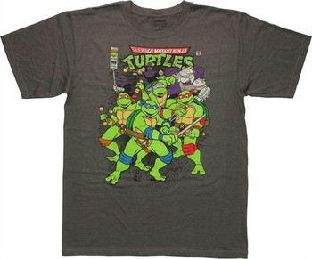 Teenage Mutant Ninja Turtles Vintage Comic Cover Charcoal T-Shirt