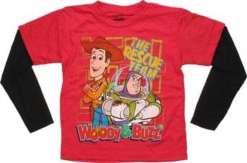 Disney Toy Story Red Rescue Team Black Long Sleeve Juvenile T-Shirt