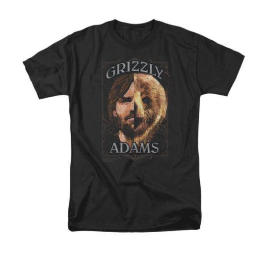 Grizzly Adams Shirt Half Bear Black T-Shirt