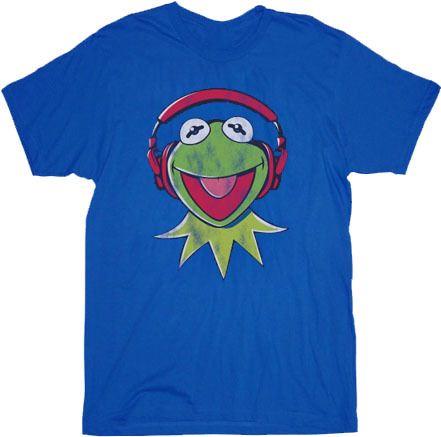 The Muppets Kermit DJ Headphones Blue Adult T-shirt
