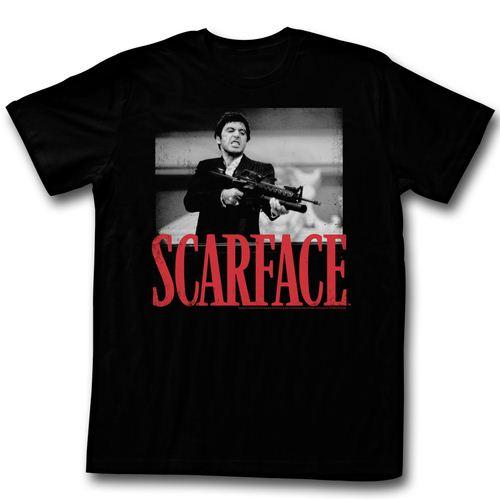 Scarface Shootah Shhoting Gun Adult Black T-Shirt