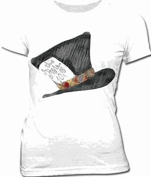 Alice in Wonderland Mad Hatter White Juniors T-shirt