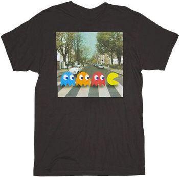 Pac-man Crossing Beatles Abbey Road Black Adult T-shirt