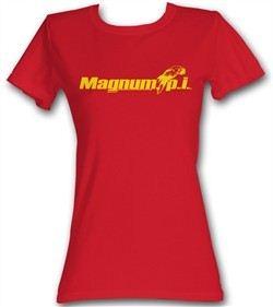Magnum PI Juniors T-shirt Beach Logo Classic Red Tee Shirt