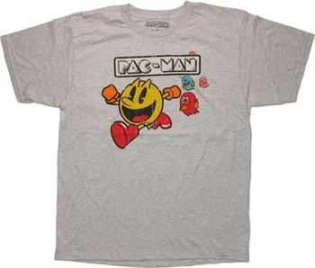 Namco Pac-Man Ghost Chase Gray T-Shirt Sheer