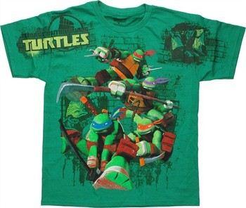 Teenage Mutant Ninja Turtles Group Shoulder Print Youth T-Shirt