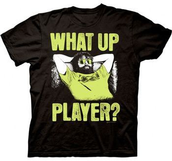 The Hangover Part III Alan What Up Player Adult Black T-shirt