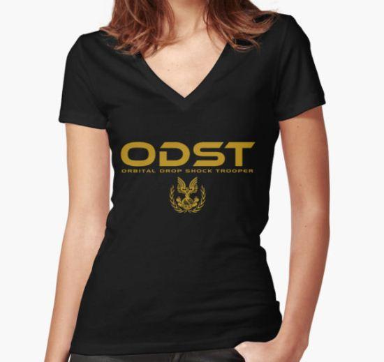 Halo ODST Orbital Drop Shock Trooper Women's Fitted V-Neck T-Shirt by Firlifer T-Shirt