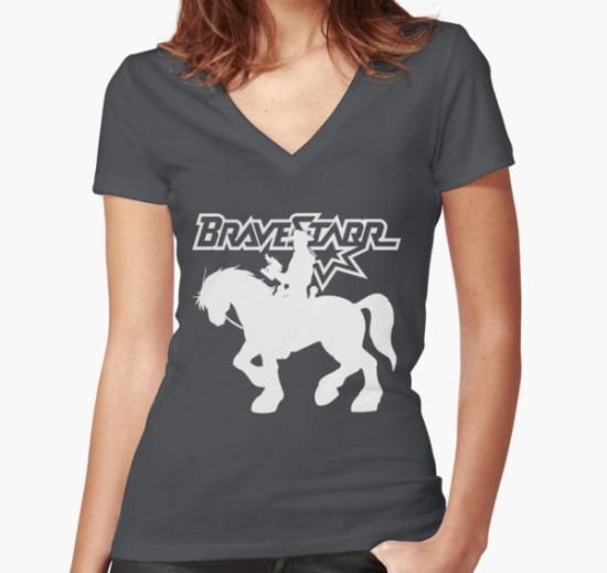 BraveStarr - Thirty Thirty and BraveStarr #2  - Solid White - Shadow Art Women's Fitted V-Neck T-Shirt by DGArt T-Shirt