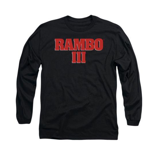 Rambo III Shirt Logo Long Sleeve Black Tee T-Shirt