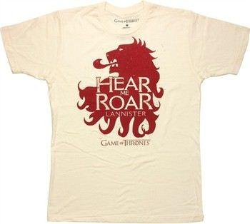 Game of Thrones Lannister Lion Hear Me Roar Cream T-Shirt Sheer