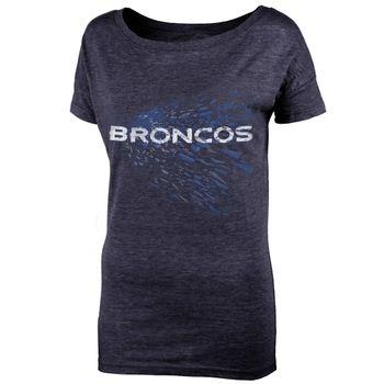 Denver Broncos Juniors Unbreakable Love Boat Neck T-Shirt - Navy Blue