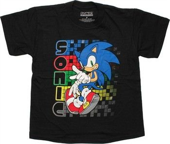Sonic the Hedgehog Stacked Name Pixel Trails Youth T-Shirt