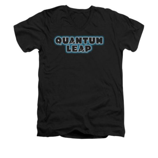 Quantum Leap Shirt Slim Fit V-Neck Logo Black T-Shirt