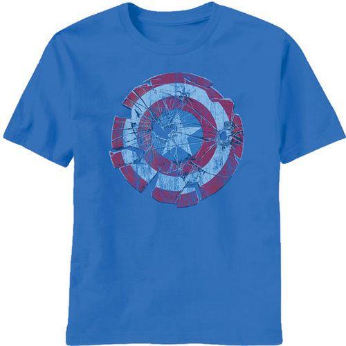 Captain America Glass Shield Shatter Sky Diver Blue Mens T-shirt