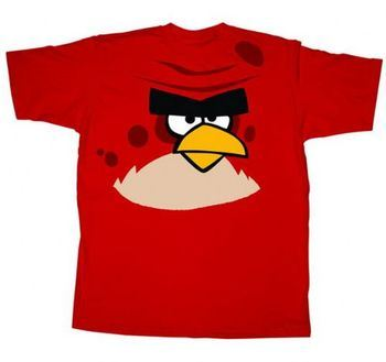 Angry Birds Big Brother Jumbo Print Face and Chest Red Adult T-shirt