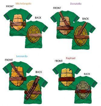 TMNT Teenage Mutant Ninja Turtles Striped Sleeves Boys Costume T-shirt