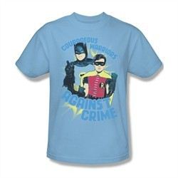 Classic Batman Shirt Against Crime Light Blue T-Shirt