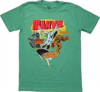 Marvel Comics Ghost Rider Silver Surfer Thing Vintage T-Shirt Sheer