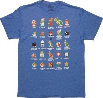 Nintendo Super Mario Bros Pixel Cast Blue T-Shirt