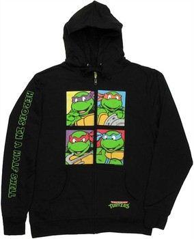Teenage Mutant Ninja Turtles Group Squares Full Zipper Hooded Sweatshirt