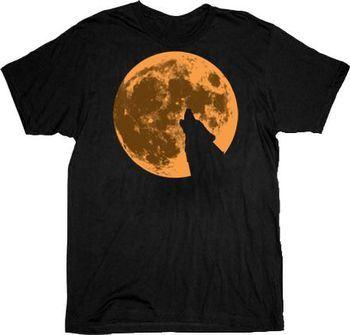 True Blood Howling Werewolf Wolf Moon Black Adult T-shirt